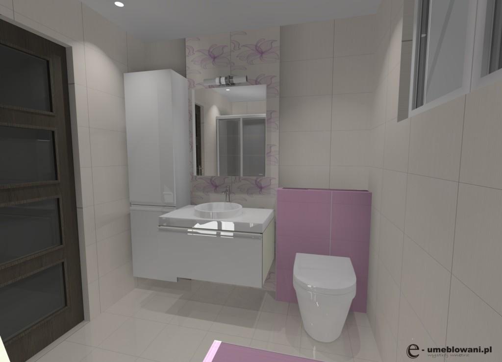 łazienka biała, róż, szafki białe połysk, sufit podwieszany, zabudowa pralki