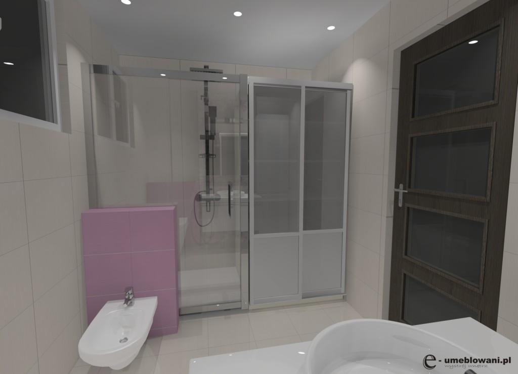 łazienka biała, róż, szafki białe połysk, sufit podwieszany, zabudowa pralki, prysznic
