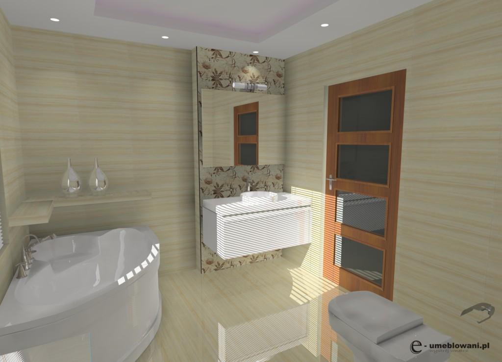 Nowoczesna łazienka krem, biała