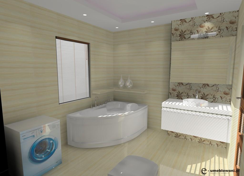 łazienka krem, biała, wanna, szafka biała połysk, jedno okno