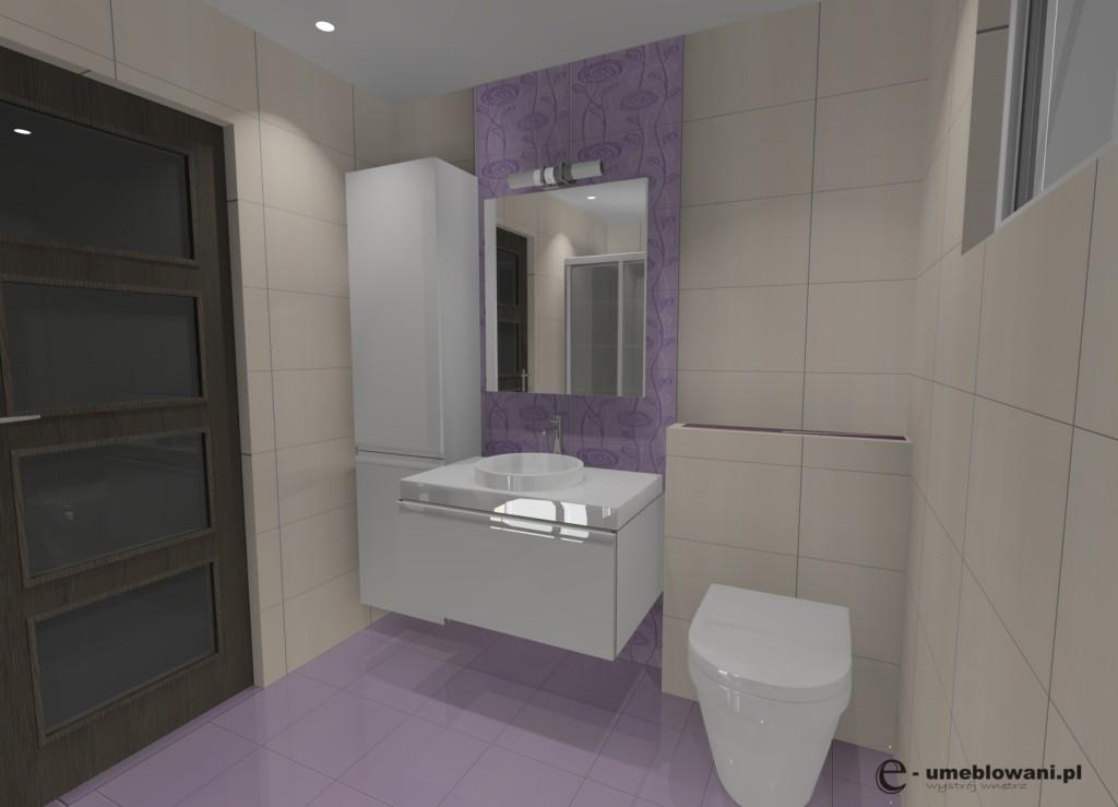 łazienka, liliowy, biały