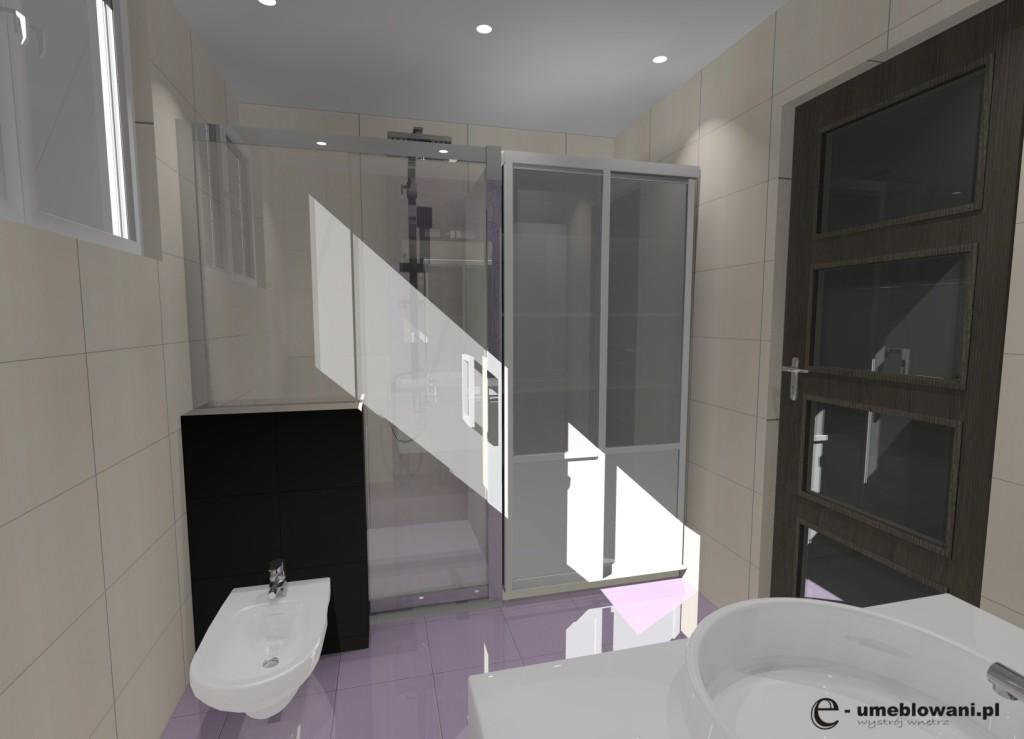 łazienka, liliowy, biały, prysznic, zabudowa pralki
