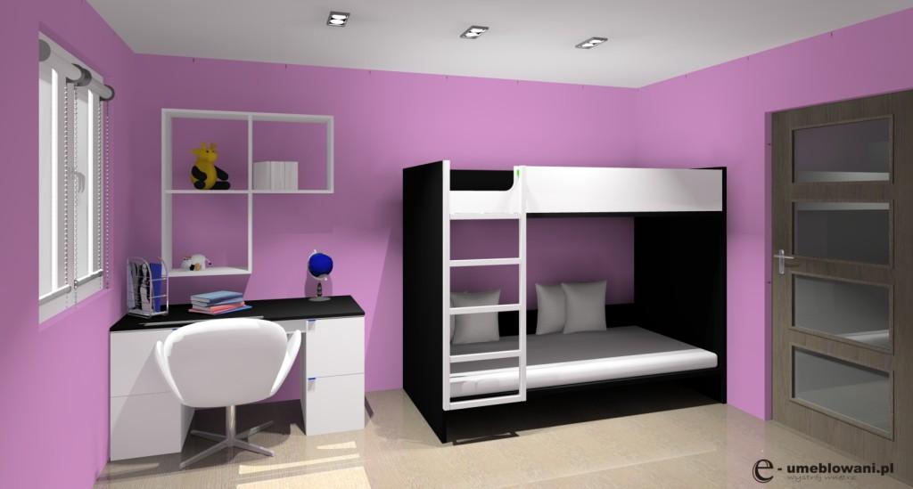 pokój dzicięcy, biały, czarny, liliowy, biurko białe, łóżko piętrowe