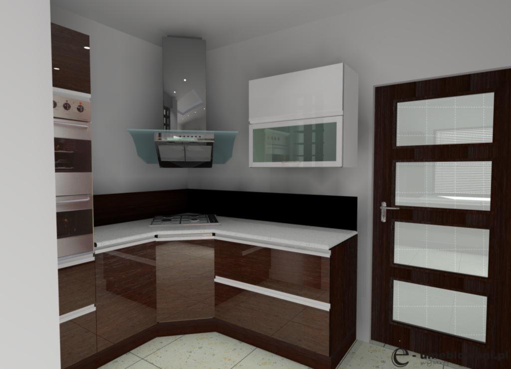 Aranżacja_projekt_kuchni_wystrój nowoczesny_w_kolorach_brąz,_biały
