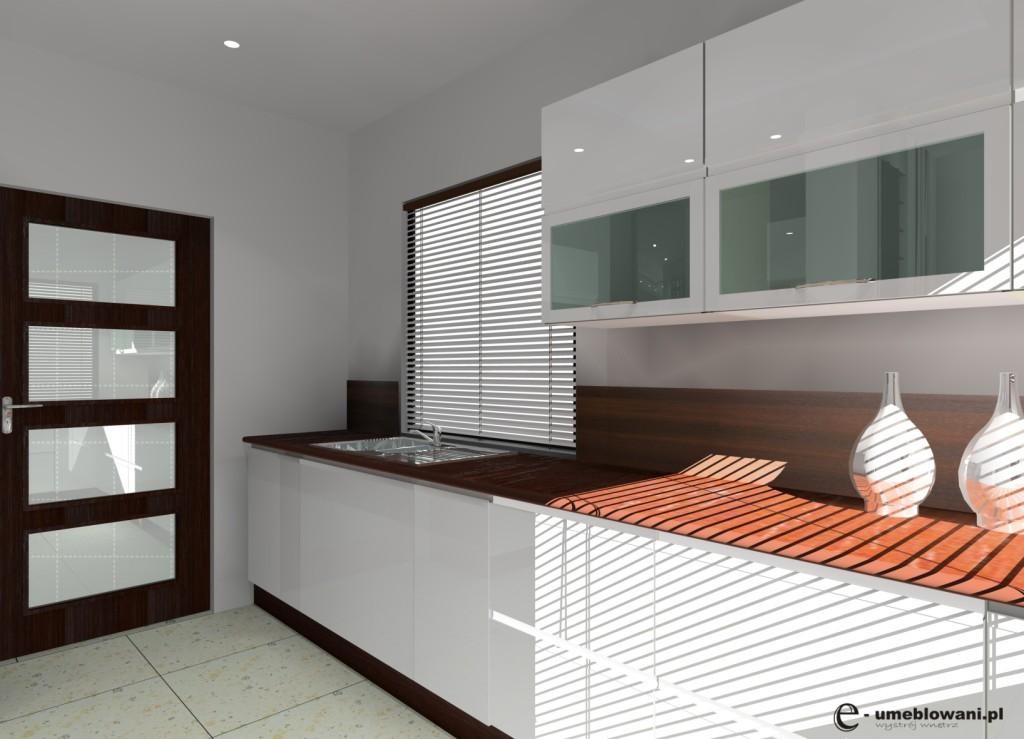 meble kuchenne biały połysk, blat drewniany, drewno na ścianie