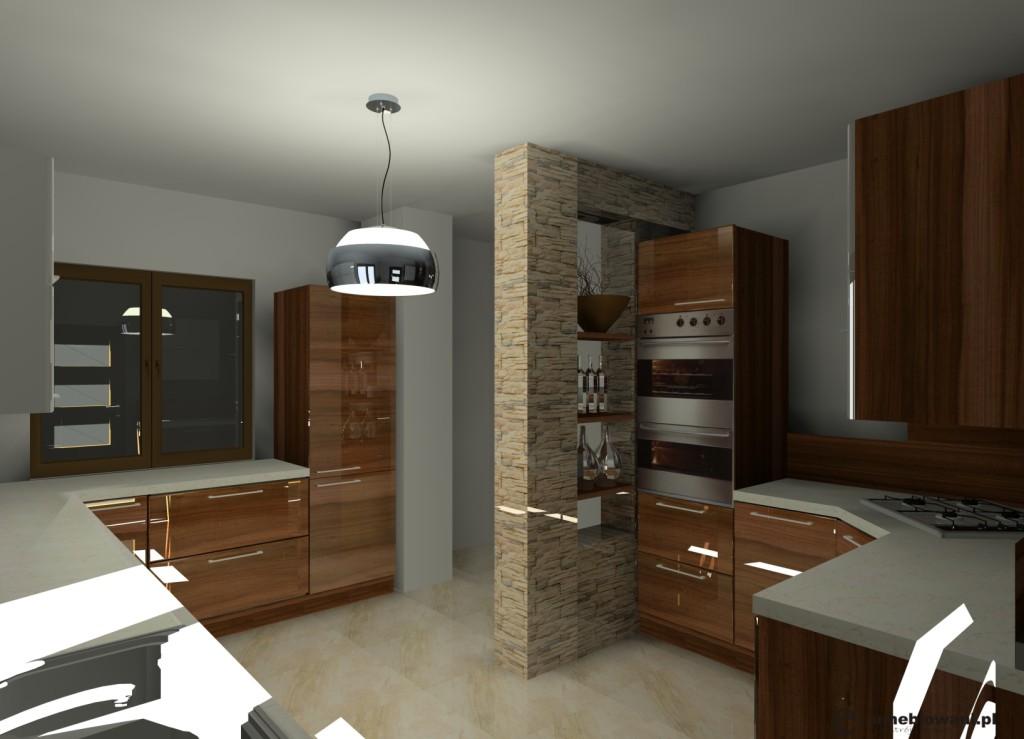 kuchnia_biała_drewno_brąz_szafki_górne_białe_dolne_drewno_klinkier_na_ścianie_dwa_okna