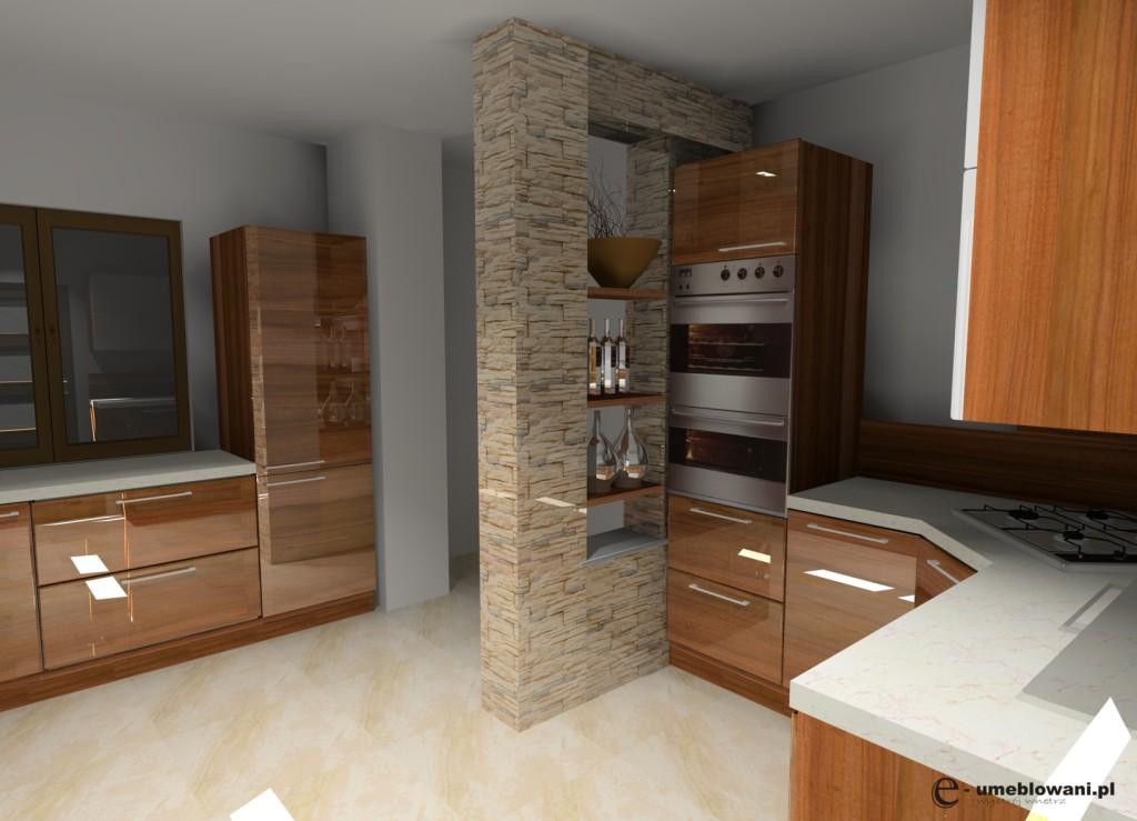 Kuchnia_Aranżacja_projekt_kuchni_wystrój_nowoczesny_w_kolorach_brąz_ biały