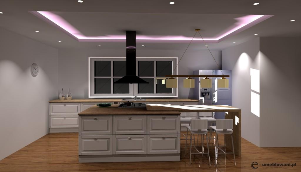 Aranżacja projekt kuchni wystrój klasyczny w kolorach brąz, beż, wyspa, barek, jedno okno, sufit podwieszany, hokery, stół