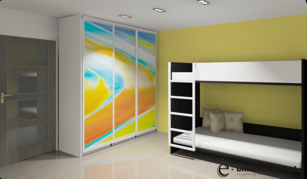 pokój dziecięcy, żółty, biały, czarny, szafa przesuwna, łóżko piętrowe