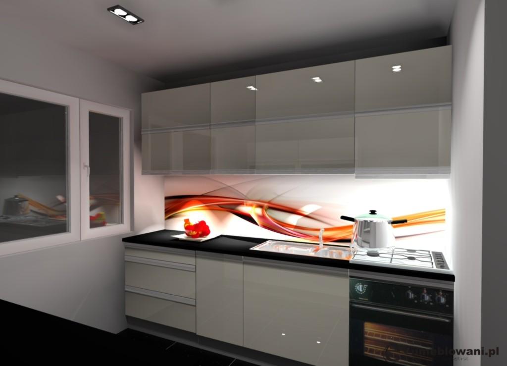 Aranżacja_projekt_kuchni_wystrój_nowoczesny_minimalistyczny_w_kolorach_beż_czarny