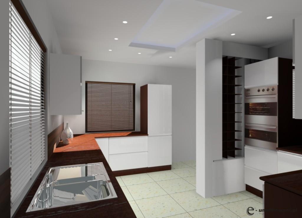 Aranżacja  projekt kuchni wystrój nowoczesny w kolorach biały, brąz -> Aranżacja Kuchni Z Niskim Oknem