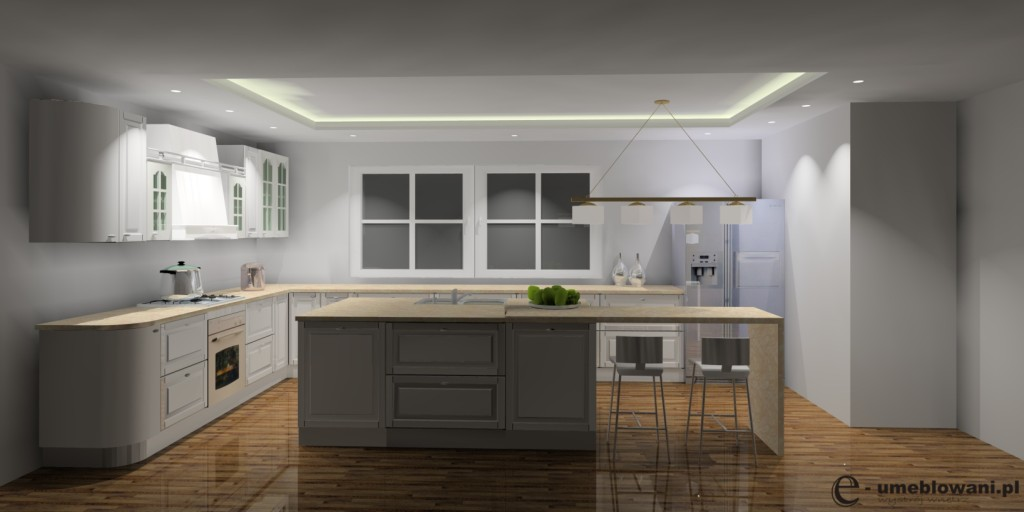angielska kuchnia biała, lodówka side by side, wyspa kuchenna, blaty kuchenne z kompozytów beż
