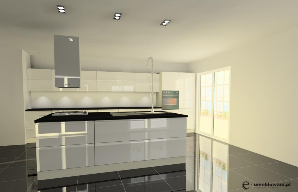 Kuchnia biała, wyspa kuchenna, białe szafki połysk, podłoga czarna połysk