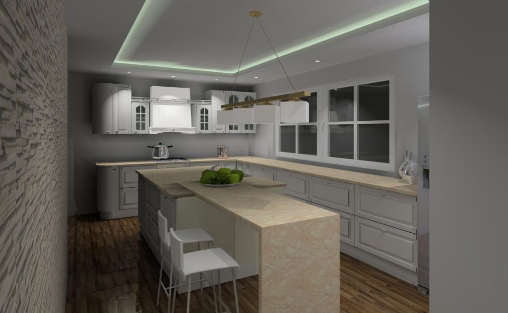 kuchnia angielska biała, kamień na ścianie, blaty kuchnne beż