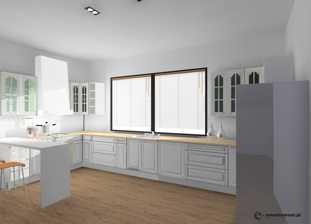 kuchnia angielska biała, podłoga panele drewnianie, barek