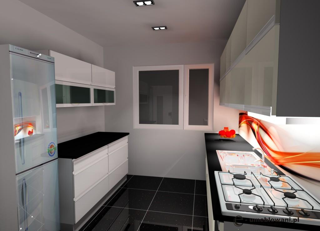 kuchnia dwurzędowa biała, czarna, czarne płytki, srebna lodówka, fototapeta na ścianie