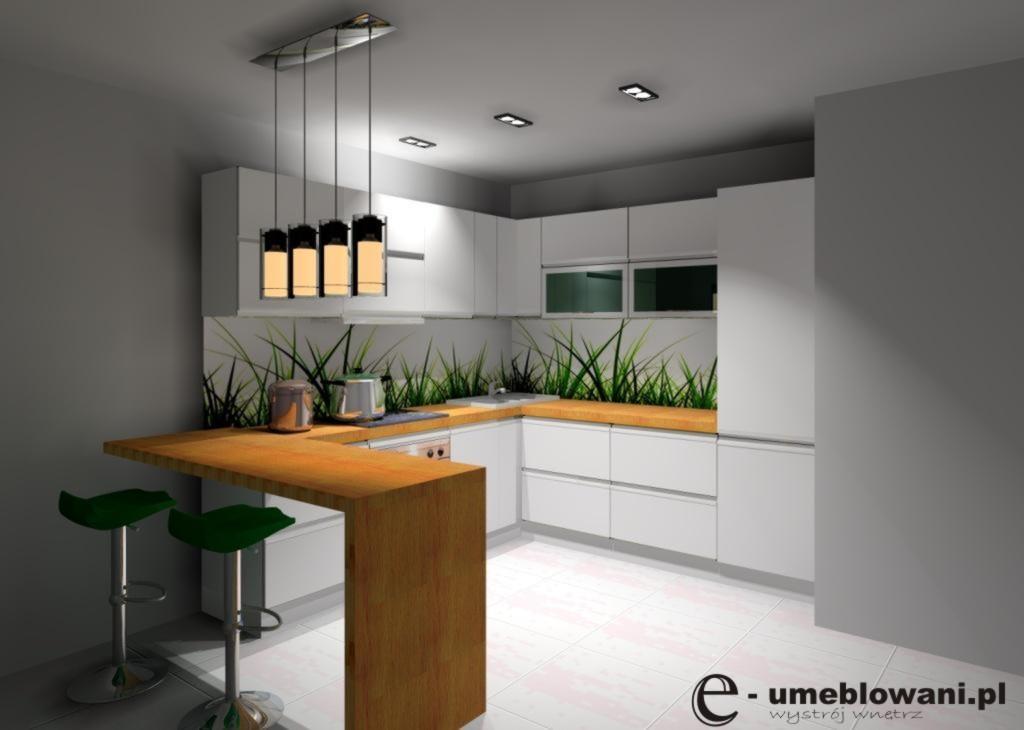 Aranżacja  projekt kuchni wystrój nowoczesny w kolorach biały, brąz, blat dr  -> Kuchnia Z Jadalnią Przyklady Projektów