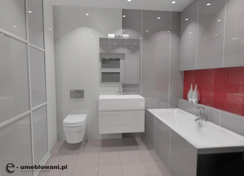łazienka_szara_czerwona_zabudowa_pralki_szafka_pod_umywalkę_biała_wana_zabudowa_wanny