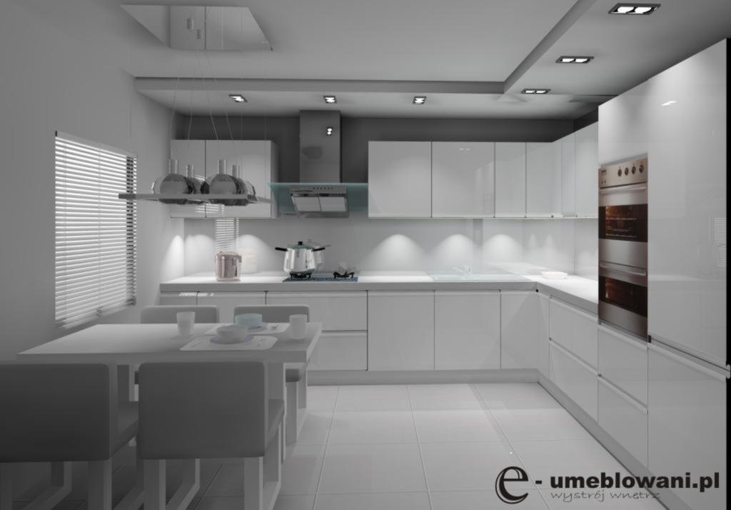 Aranżacja  projekt kuchni wystrój nowoczesny w kolorach biały, szary, szkło