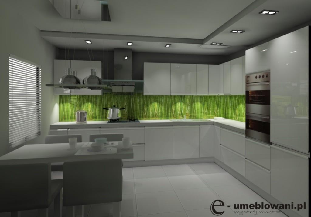 Aranżacja_projekt_kuchnia_wystrój_nowoczesny_w_kolorach_biały_szary_zielony_fototapeta_na_ścianie_bambusy