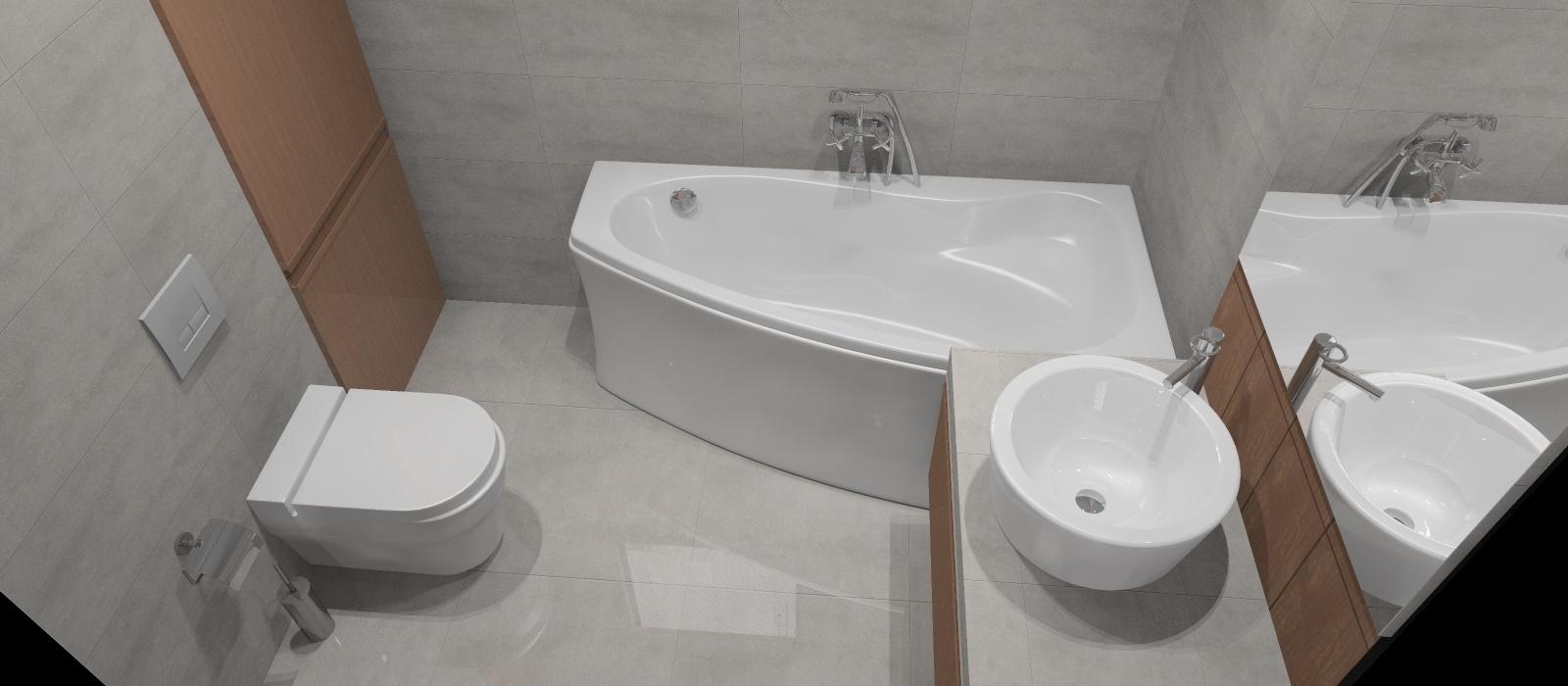 Aranżacja_projekt_łazienki_wystrój_nowoczesny_w_kolorach_beton_brąz_pralka