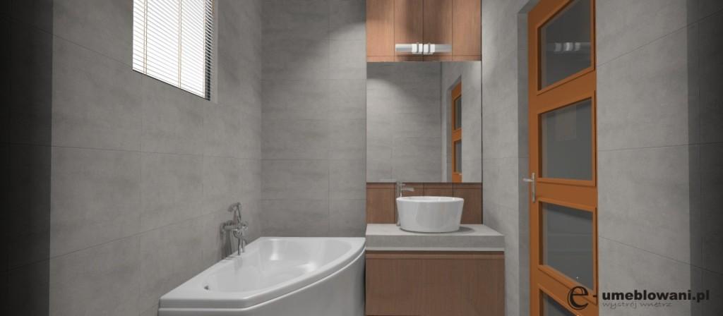 łazienka_beton_brąz_wanna_asymetryczna_szafka_drewno