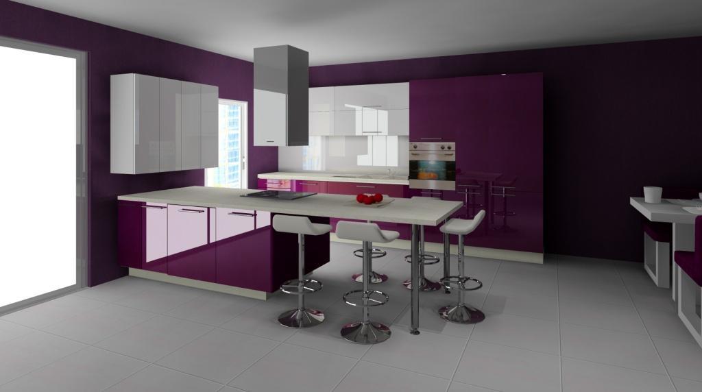 Aranzacja_projekt_kuchni_wystroj nowoczesny_w_kolorze_fiolet_bialy_wyspa