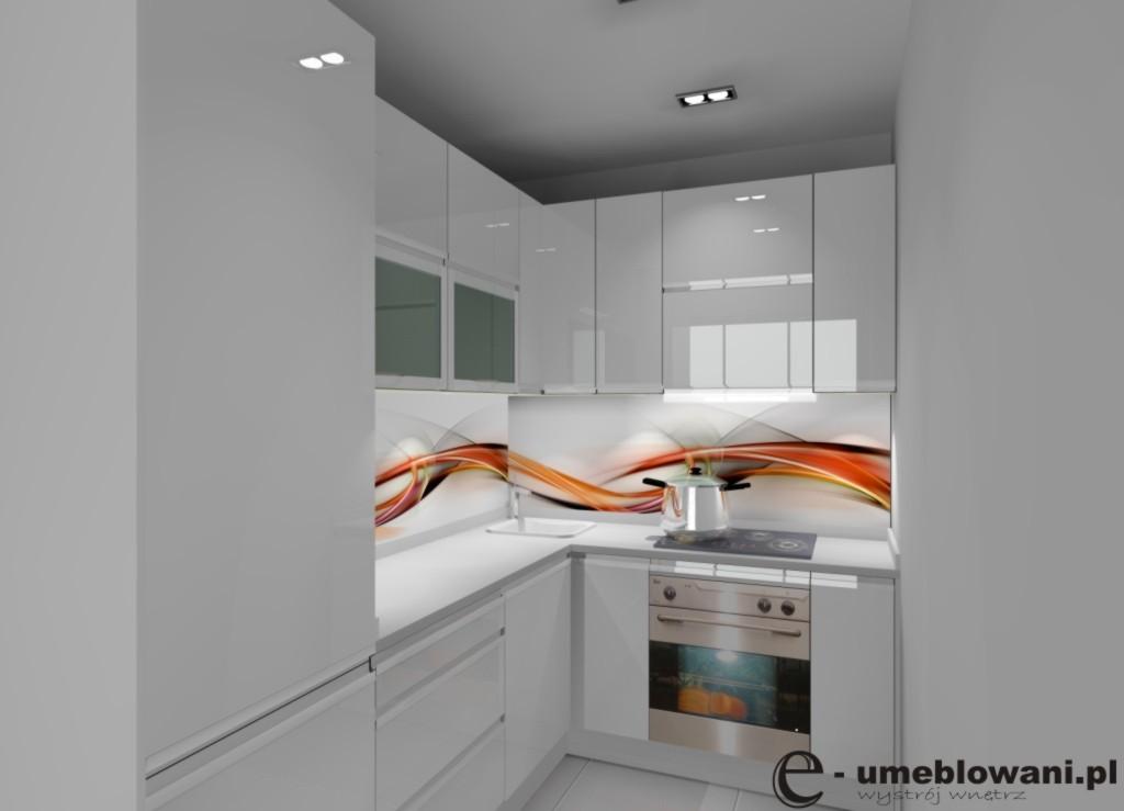 aranzacja, projekt kuchni malutkiej wystroj nowoczesny w kolorze bialy, szary_fototapeta-na-ścianie