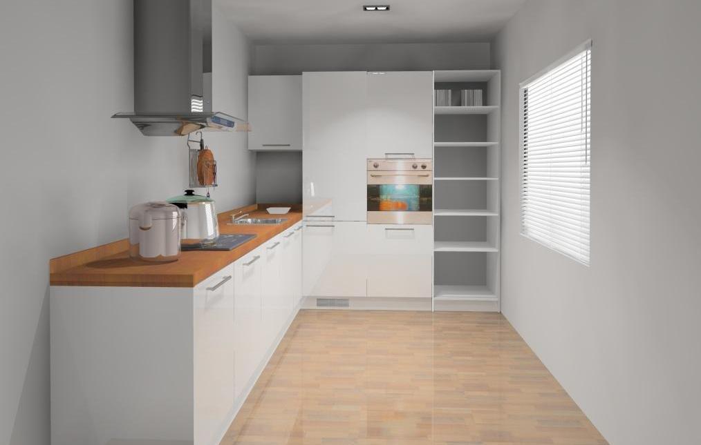 kuchnia-wąska-biała-styl-skandynawski-drewno-jedno-okno
