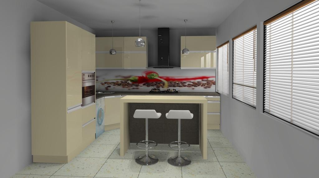 Aranżacja – projekt kuchni z wyspą wystrój nowoczesny w   -> Kuchnia W Kolorze Kapuczino
