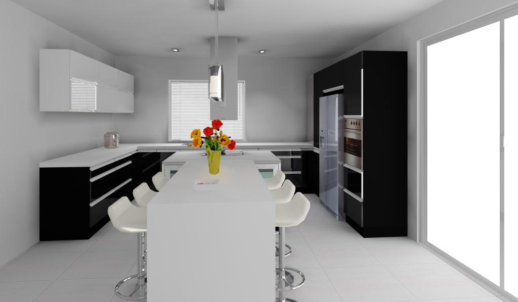 kuchnia_wystroj_nowoczesny_w_kolorze_czarny_biały_wyspa-szafki-czarne