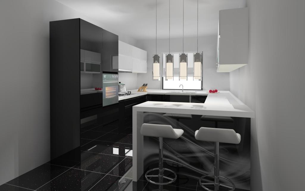 kuchnia-czarna-biała-barek-grafika-na-szkle-płytki-czarne-blaty-białe