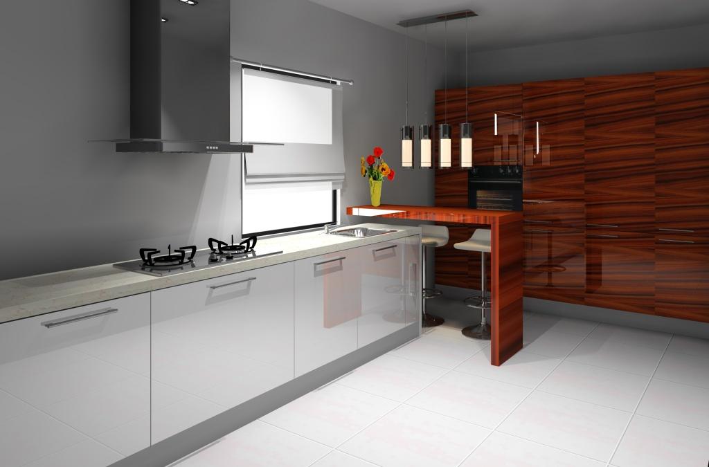 Projekt aranżacja kuchni wystrój nowoczesny w kolorze biały, brąz -> Biala Kuchnia Bialy Okap