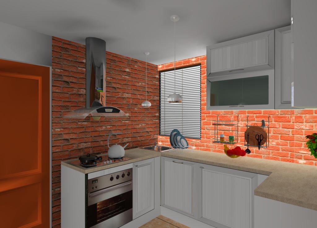 Kuchnia-biała-cegła-na-ścianie-szafki-białe