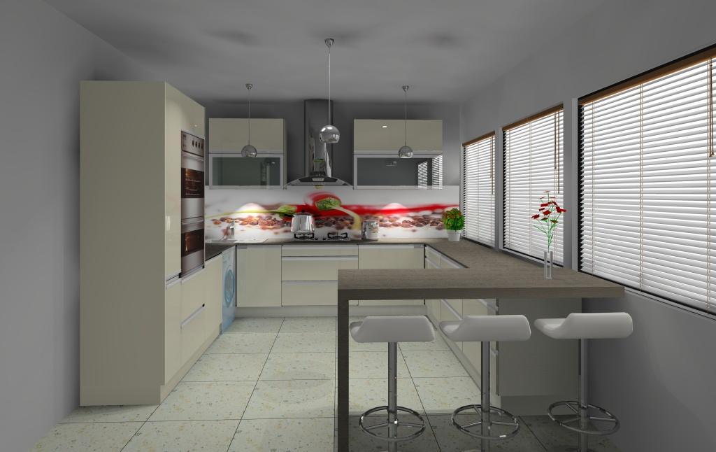 aranżacja kuchni z barkiem wystrój nowoczesny w kolorze wanilia, brąz