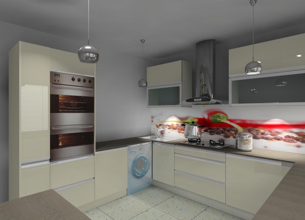 aranżacja kuchni z barkiem wystrój nowoczesny w kolorze   -> Kuchnia W Kolorze