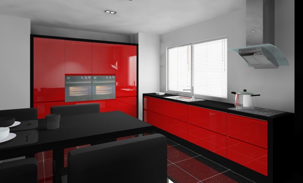 kuchnia-czerwona-czarna-płytki-czarne-szafki-czarny-połysk-stół-czarny