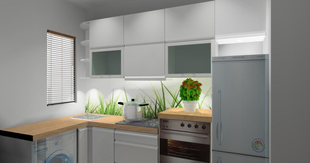 mała kuchnia połysk, biała, drewno, brąz, pralka pod blatem