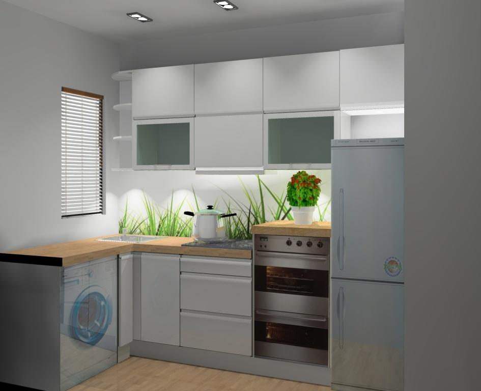 mała kuchnia, biała, drewno, brąz, pralka pod blatem, sufit podwieszany