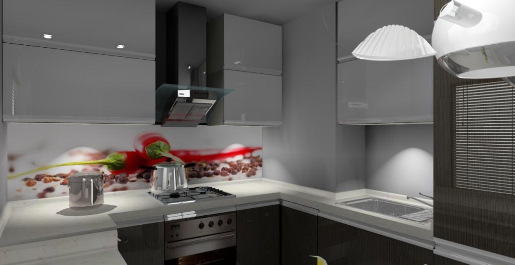 kuchnia-biała-drewno-blat-biały-szafki-górne-białe-dolne-drewno-barek-hokery-fototapeta-papryczki