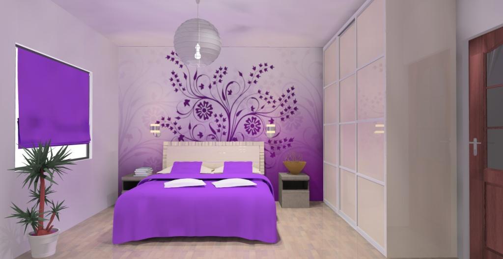 aranzacja-projekt-sypialnia-wystroj-nowoczesny-w-kolorze-fiolet-bez-bialy-łóżko-kinkiety