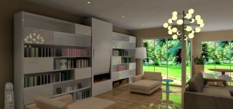 Projekt / aranżacja salonu wystrój nowoczesny w kolorze biały, brąz