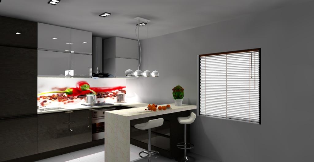 projekt-kuchni-białej-drewno-barek-fototapeta-na-szkle-papryczki