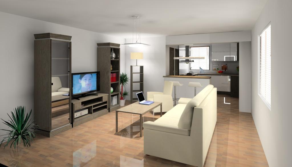 projekt-aranzacja-salon-wystroj-nowoczesny-w-kolorze-brąz-biały-kanapa