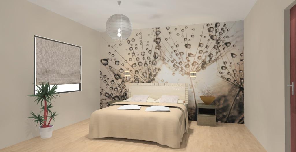 sypialnia-biala-brąz-ecru-zielony-turkus-fototapeta-na-ścianie-łóżko-szafki drewno