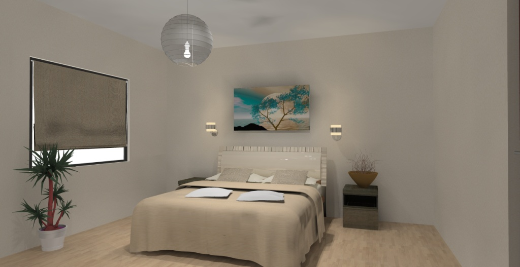 sypialnia-biala-brąz-ecru-zielony-turkus-fototapeta-na-ścianie-łóżko-szafki drewno-kinkiety-nad-łóżkiem
