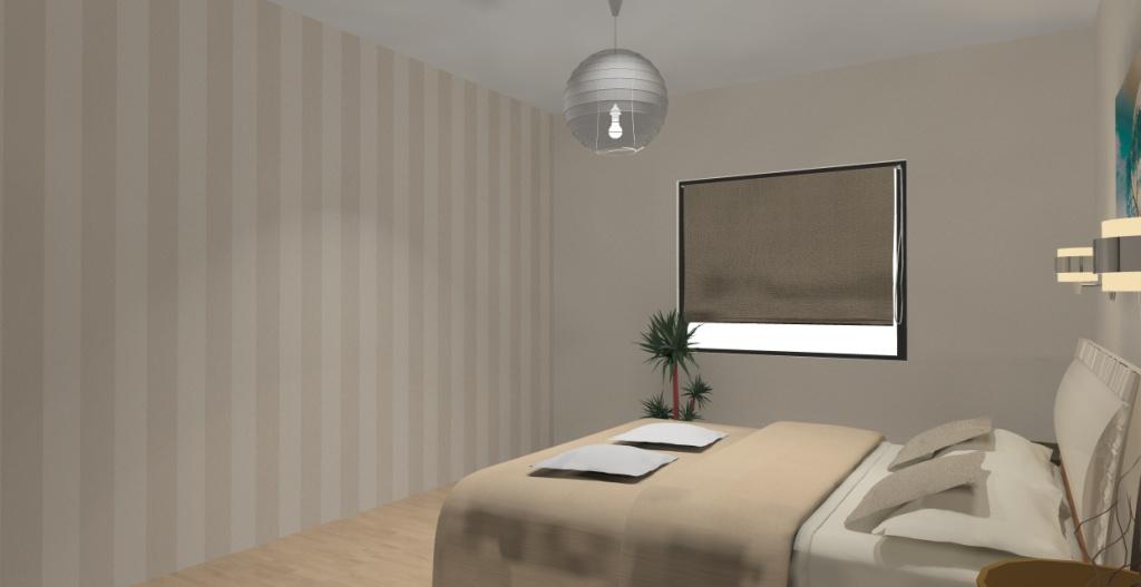 nowoczesna-sypialnia-biala-brąz-ecru-zielony-turkus-fototapeta-pasy-na-ścianie-łóżko-szafki drewno-kinkiety-nad-łóżkiem