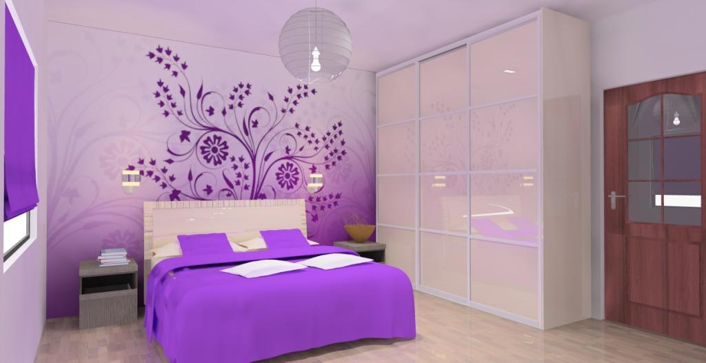 projekt-aranzacja-sypialnia-wystroj-nowoczesny-w-kolorze-fiolet-ecru-szafa-przesuwna