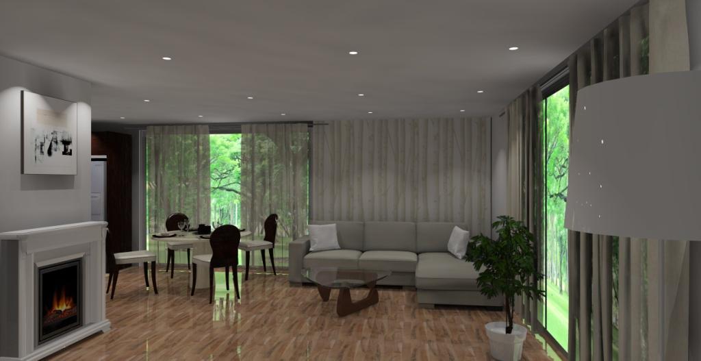 salon-wanilia-brąz-sufit-podwieszany-stół-krzesła-podłoga-panele-stolik-kawowy-drewno-szkło-narożnik-wanilia-kominek-fototapeta-drzewa