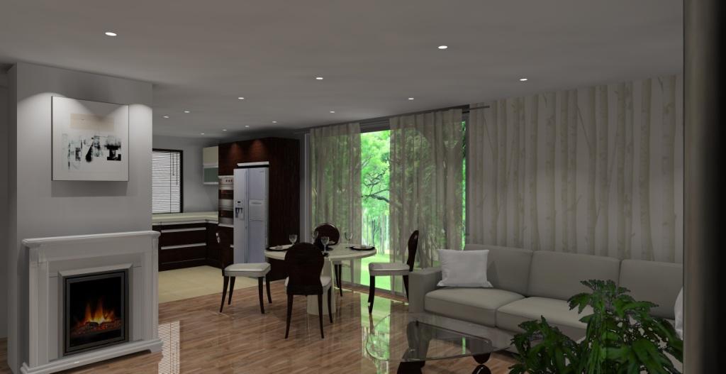 salon-wanilia-brąz-sufit-podwieszany-stół-krzesła-podłoga-panele-stolik-kawowy-drewno-szkło-narożnik-wanilia-kominek-fototapeta-drzewa-kuchnia-drewno